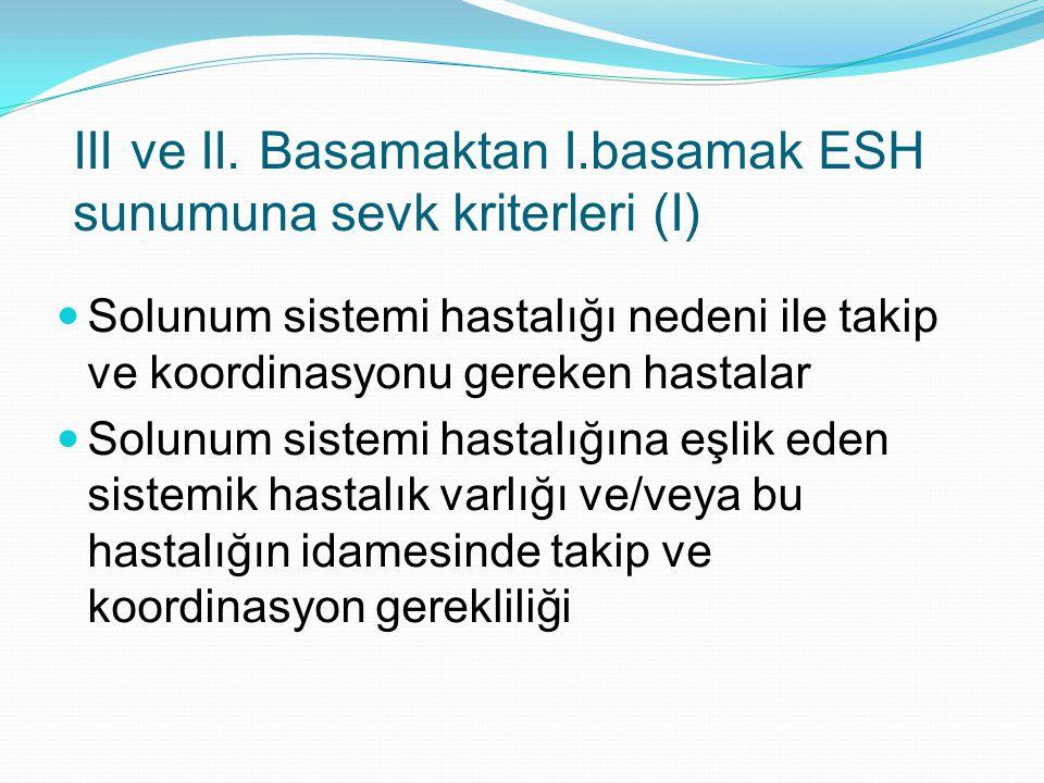 III ve II. Basamaktan I.basamak ESH sunumuna sevk kriterleri (I)