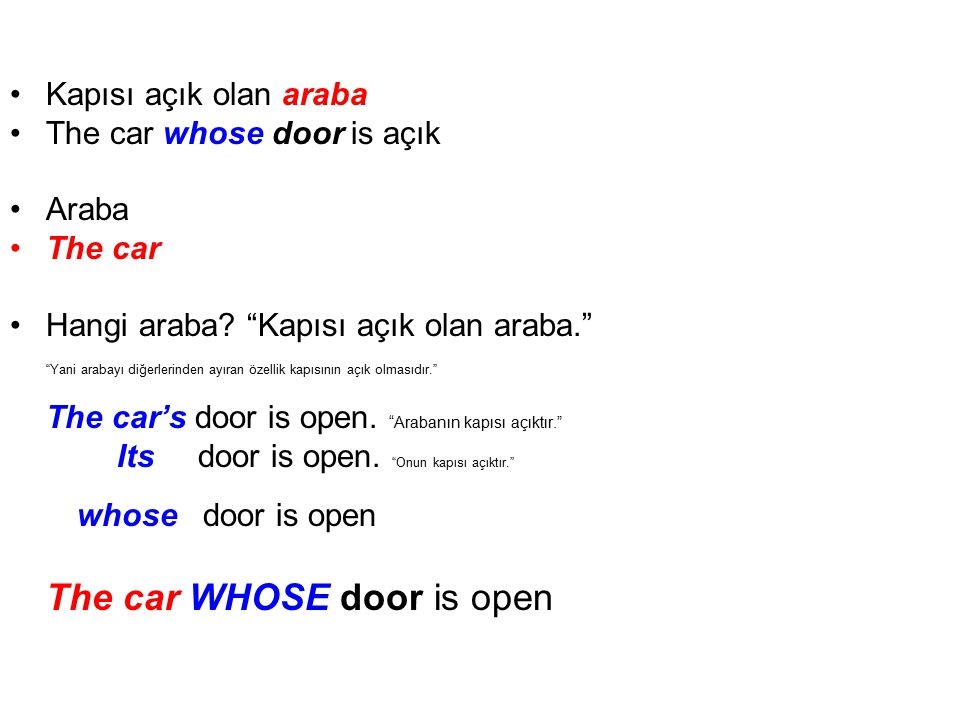 The car WHOSE door is open