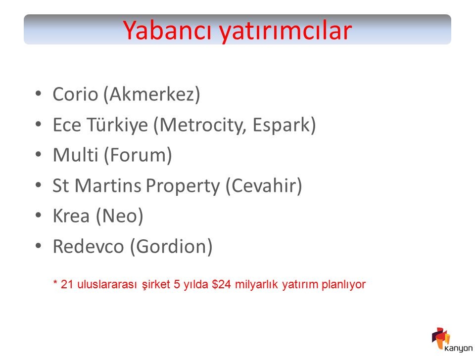 Yabancı yatırımcılar Corio (Akmerkez) Ece Türkiye (Metrocity, Espark)