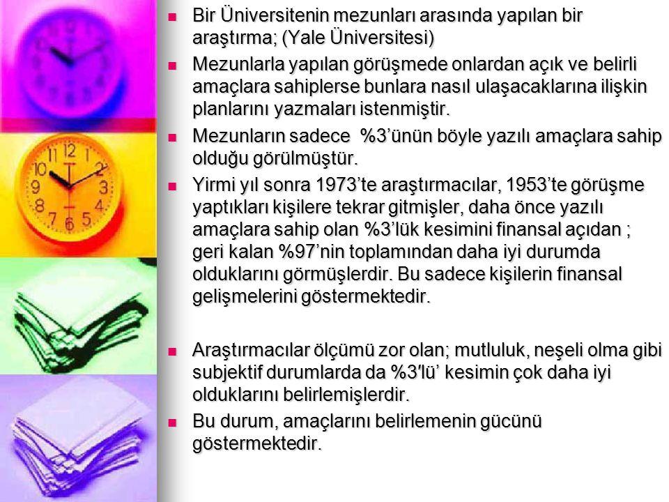 Bir Üniversitenin mezunları arasında yapılan bir araştırma; (Yale Üniversitesi)