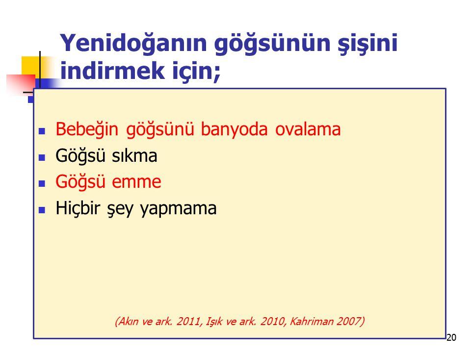 Yenidoğanın göğsünün şişini indirmek için;