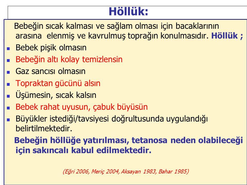 (Eğri 2006, Meriç 2004, Aksayan 1983, Bahar 1985)