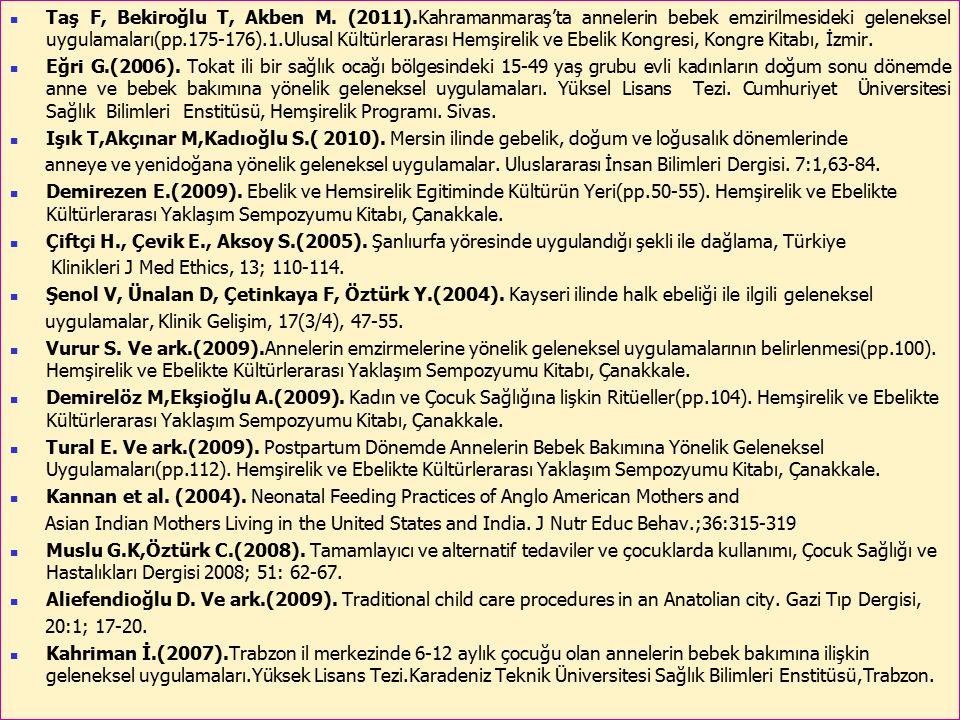 Taş F, Bekiroğlu T, Akben M. (2011)