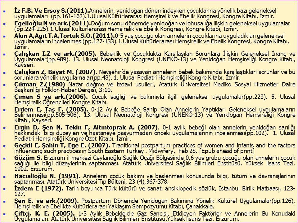 İz F.B. Ve Ersoy S.(2011).Annelerin, yenidoğan dönemindeyken çocuklarına yönelik bazı geleneksel uygulamaları (pp.161-162).1.Ulusal Kültürlerarası Hemşirelik ve Ebelik Kongresi, Kongre Kitabı, İzmir.