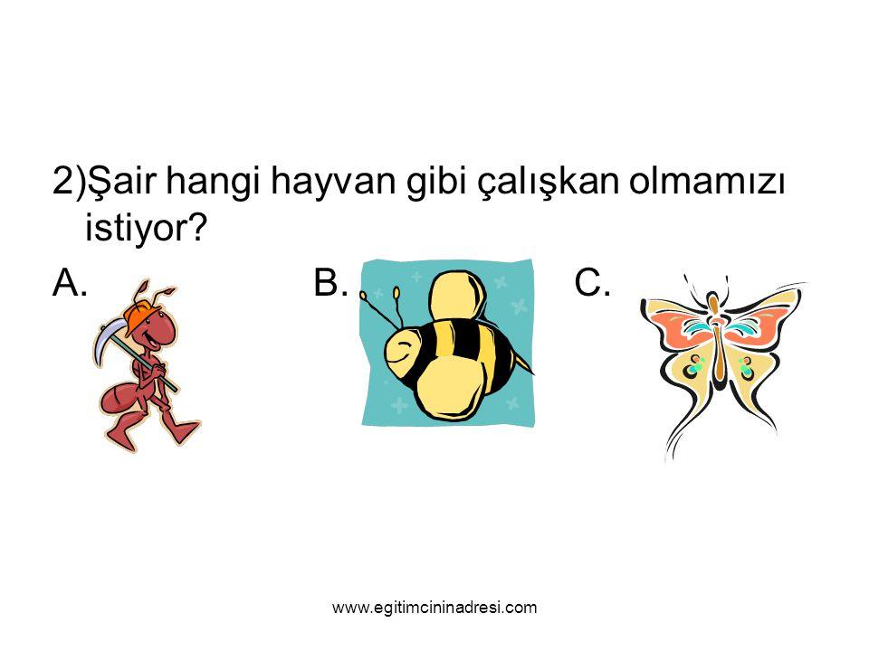 2)Şair hangi hayvan gibi çalışkan olmamızı istiyor A. B. C.