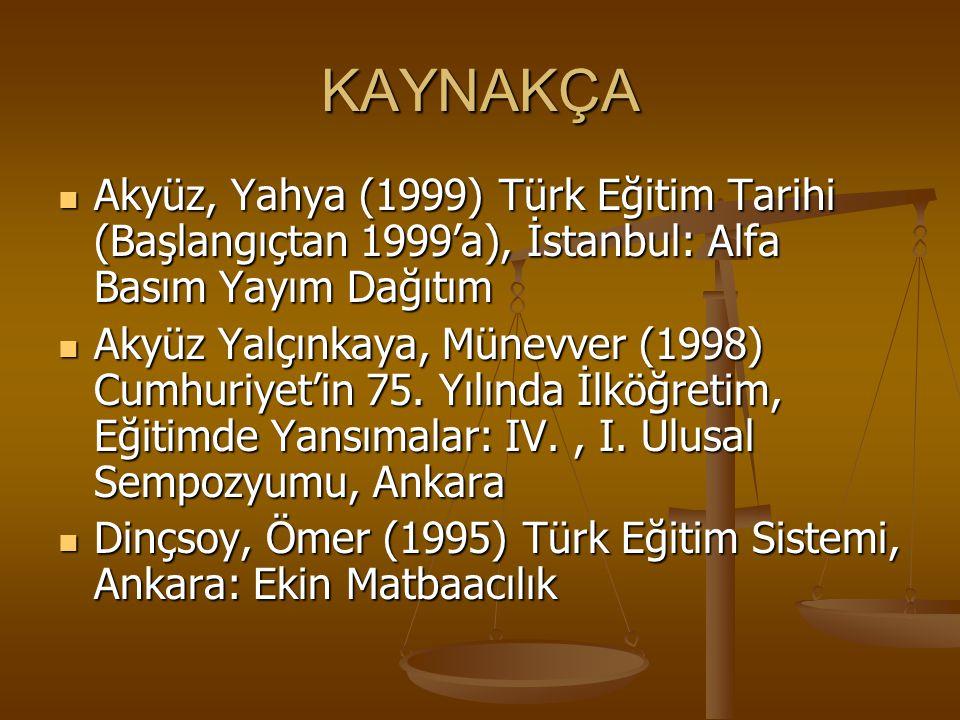 KAYNAKÇA Akyüz, Yahya (1999) Türk Eğitim Tarihi (Başlangıçtan 1999'a), İstanbul: Alfa Basım Yayım Dağıtım.