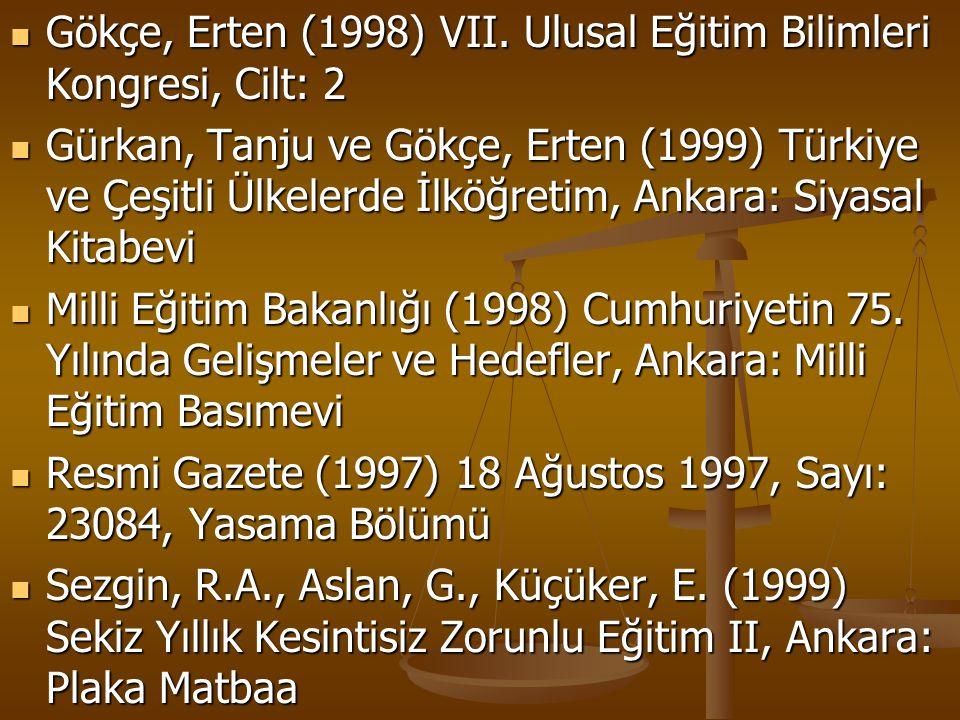 Gökçe, Erten (1998) VII. Ulusal Eğitim Bilimleri Kongresi, Cilt: 2