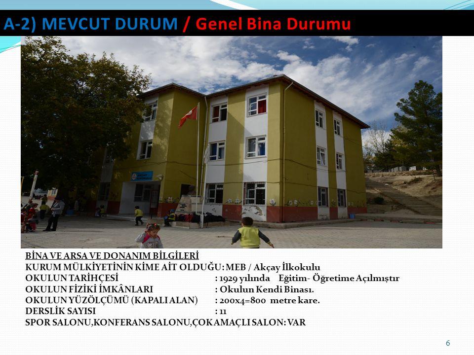 A-2) MEVCUT DURUM / Genel Bina Durumu