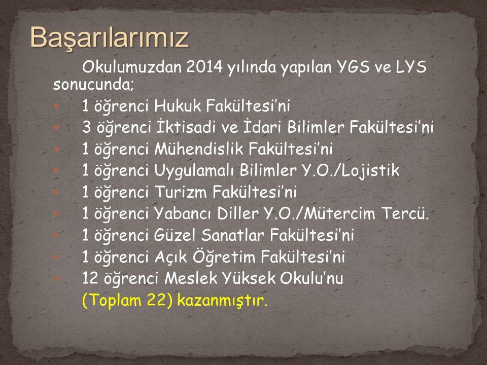 Başarılarımız Okulumuzdan 2014 yılında yapılan YGS ve LYS sonucunda;