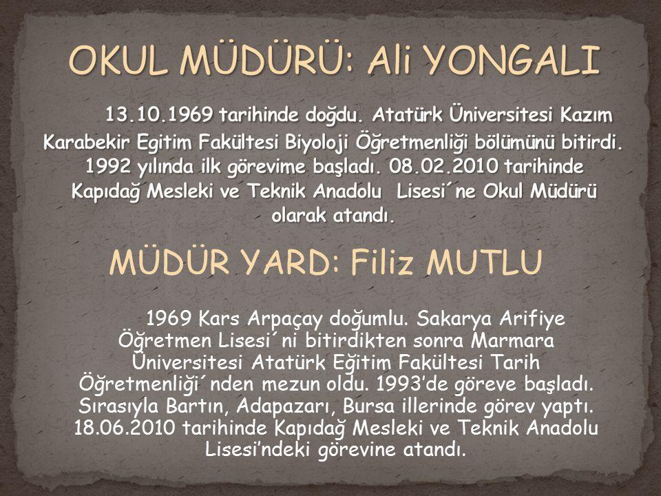 OKUL MÜDÜRÜ: Ali YONGALI 13. 10. 1969 tarihinde doğdu