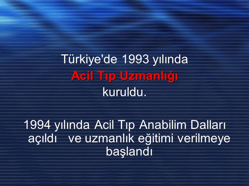Türkiye de 1993 yılında Acil Tıp Uzmanlığı. kuruldu.