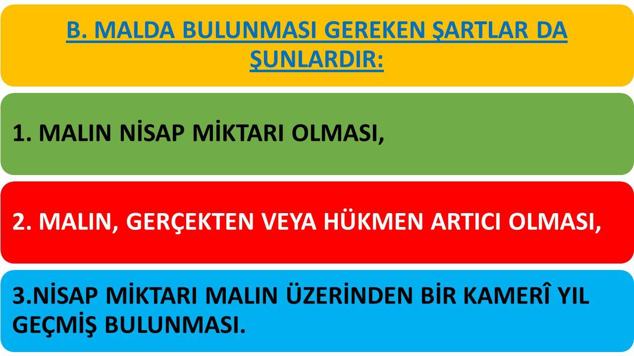 B. MALDA BULUNMASI GEREKEN ŞARTLAR DA ŞUNLARDIR: