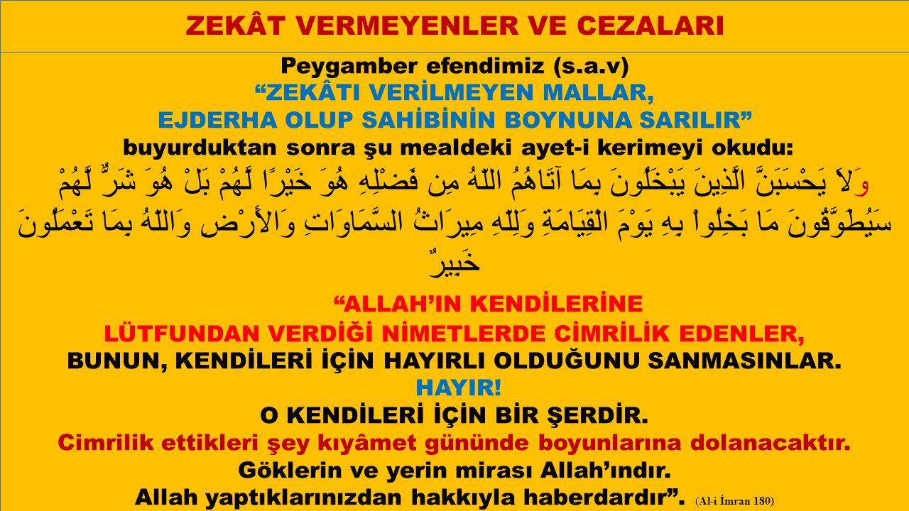 ALLAH'IN KENDİLERİNE