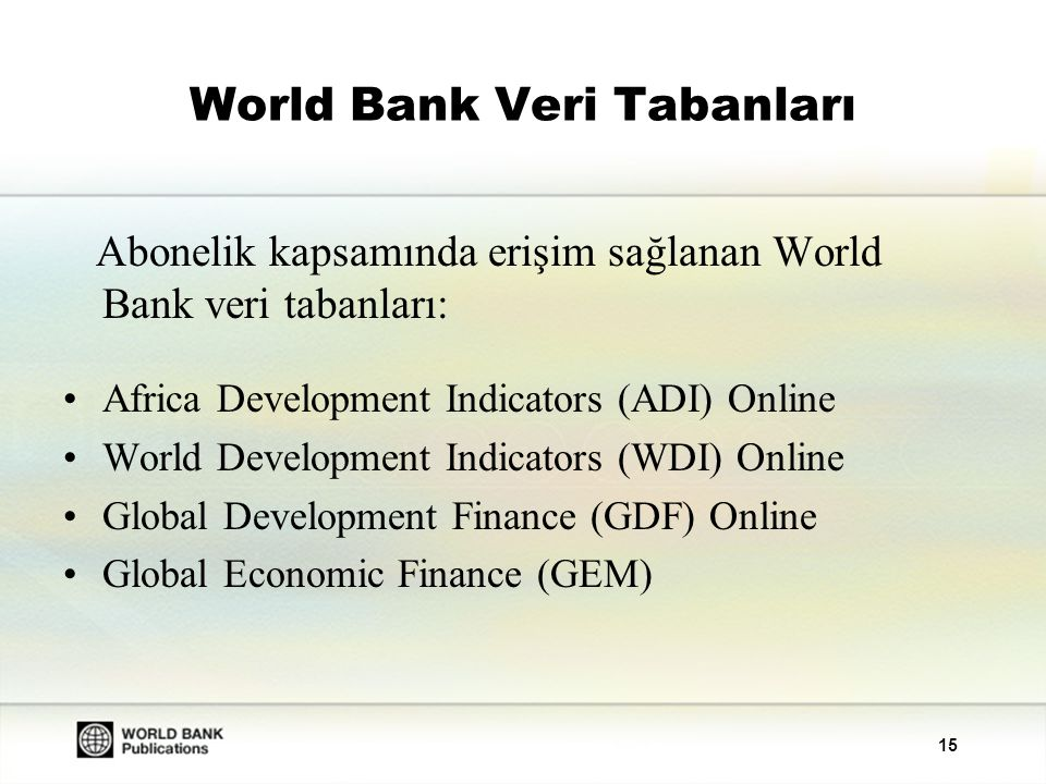 World Bank Veri Tabanları