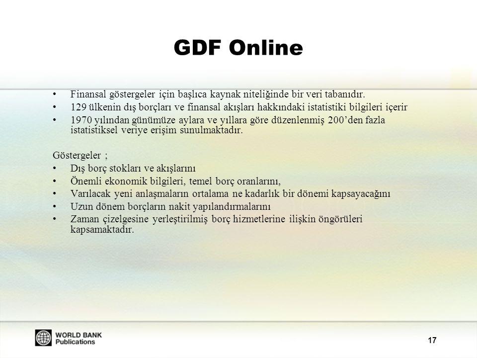 GDF Online Finansal göstergeler için başlıca kaynak niteliğinde bir veri tabanıdır.