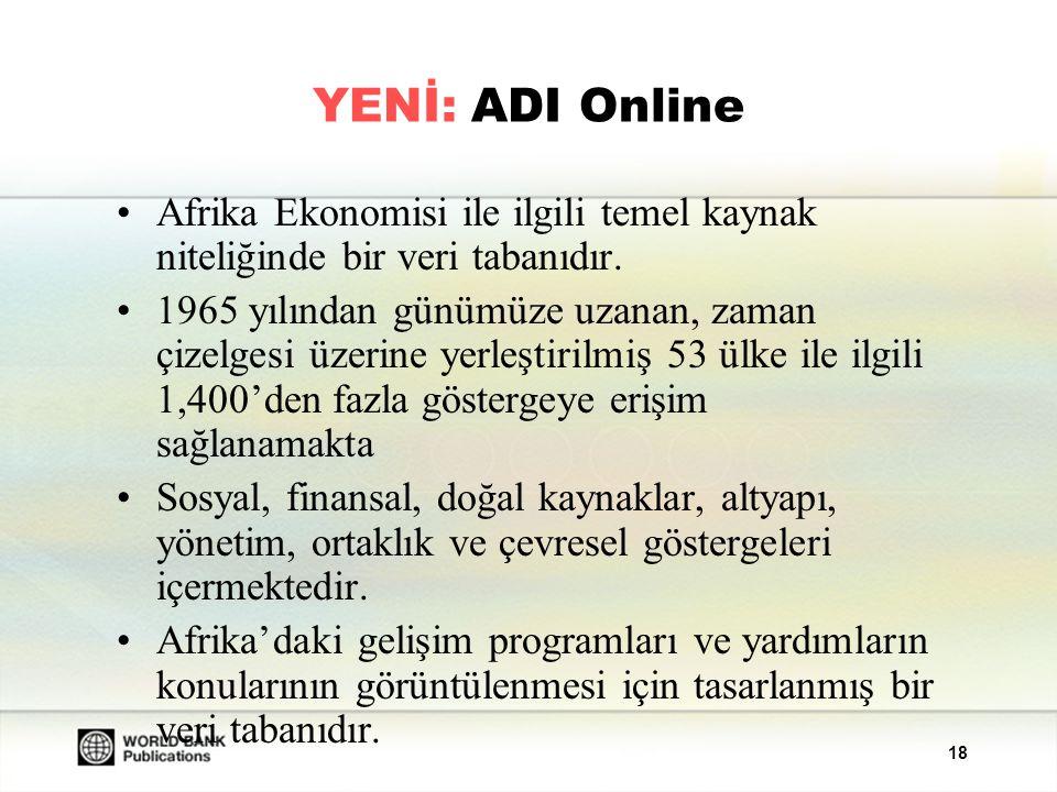 YENİ: ADI Online Afrika Ekonomisi ile ilgili temel kaynak niteliğinde bir veri tabanıdır.