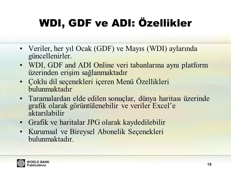 WDI, GDF ve ADI: Özellikler