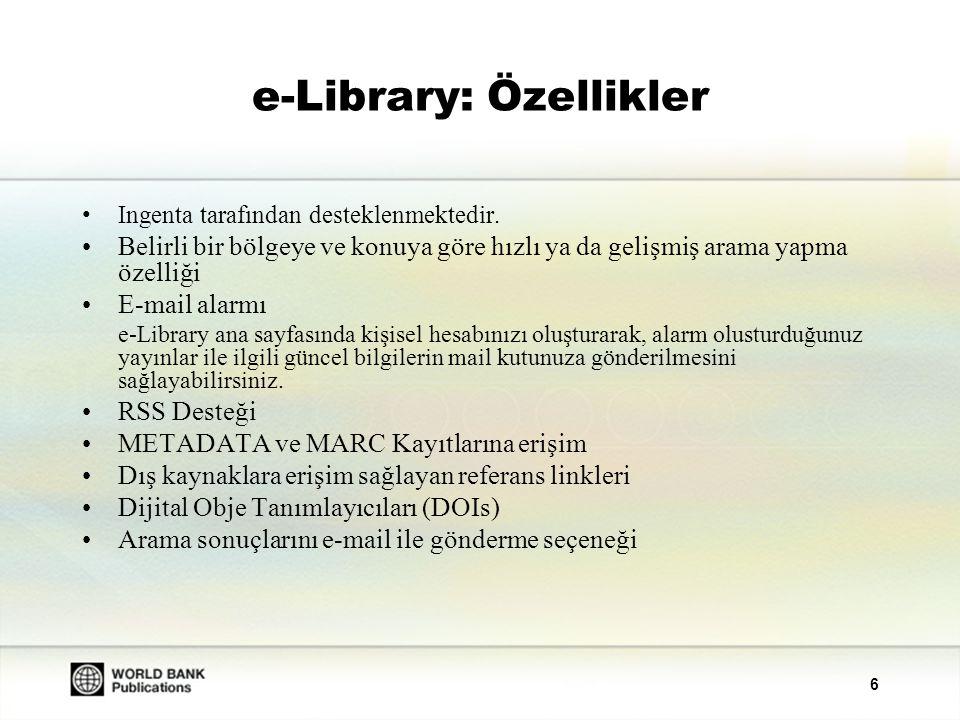 e-Library: Özellikler
