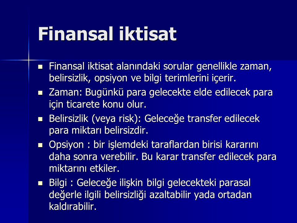 Finansal iktisat Finansal iktisat alanındaki sorular genellikle zaman, belirsizlik, opsiyon ve bilgi terimlerini içerir.