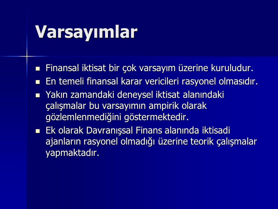 Varsayımlar Finansal iktisat bir çok varsayım üzerine kuruludur.