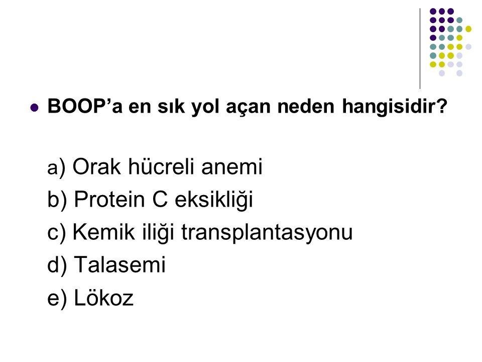 c) Kemik iliği transplantasyonu d) Talasemi e) Lökoz