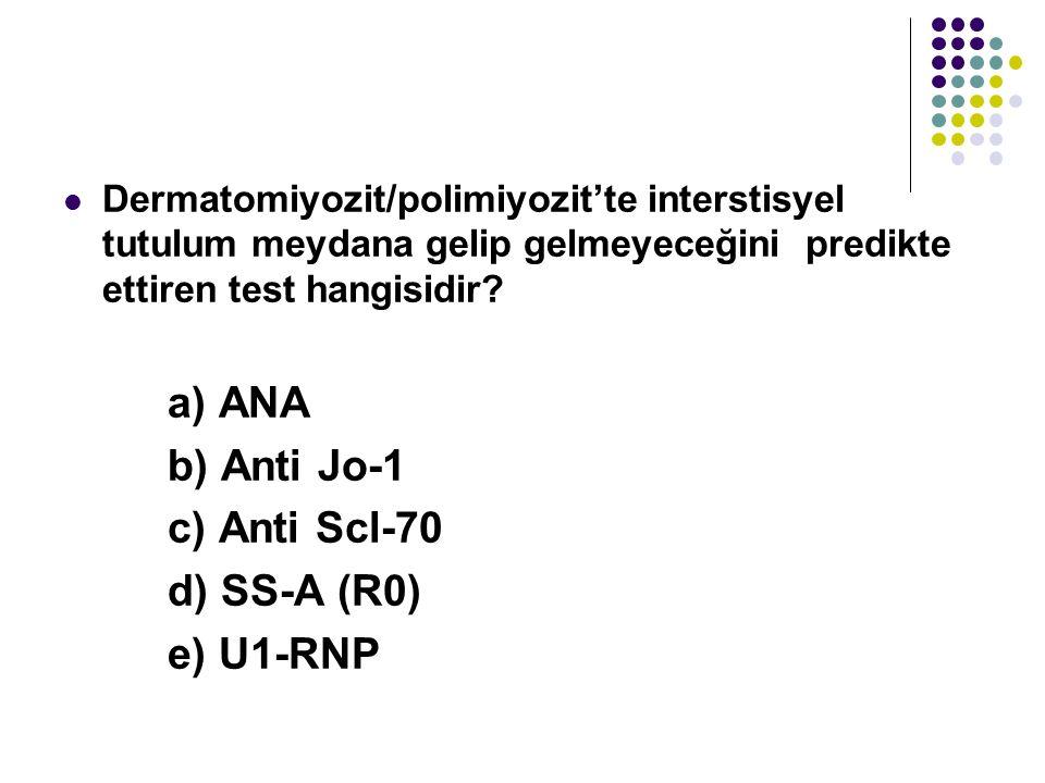 b) Anti Jo-1 c) Anti Scl-70 d) SS-A (R0) e) U1-RNP