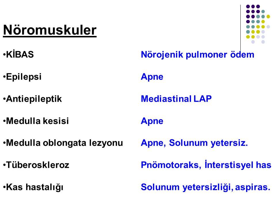 Nöromuskuler KİBAS Nörojenik pulmoner ödem Epilepsi Apne