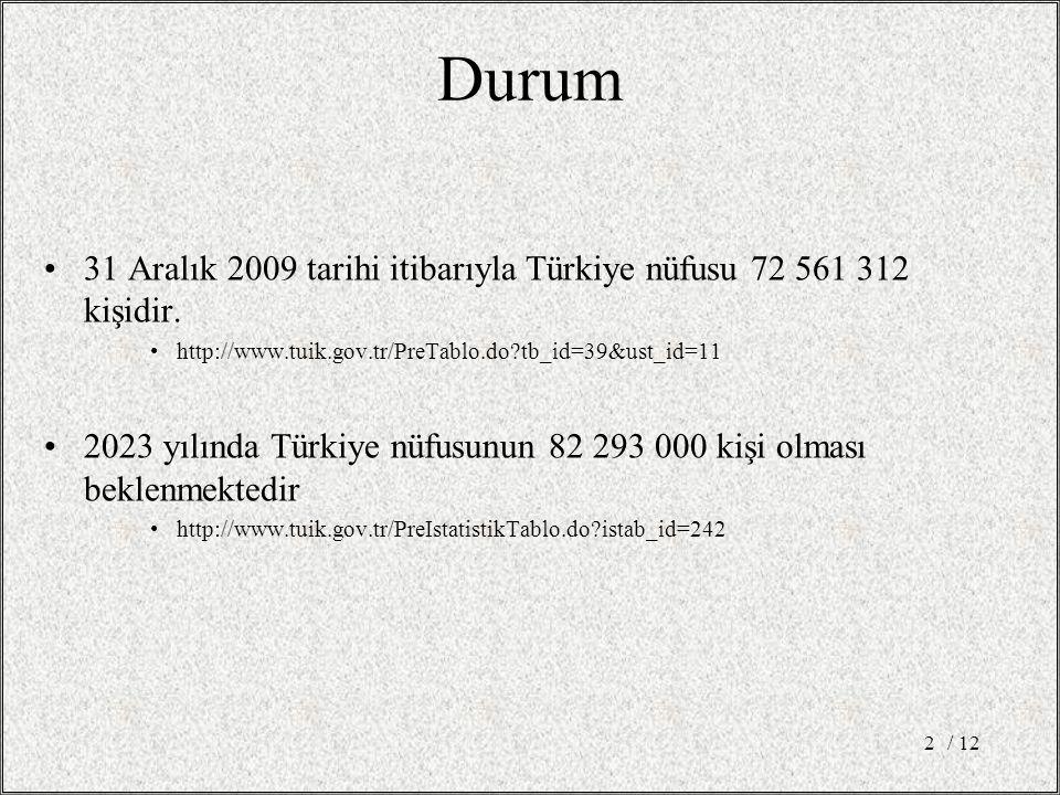 Durum 31 Aralık 2009 tarihi itibarıyla Türkiye nüfusu 72 561 312 kişidir. http://www.tuik.gov.tr/PreTablo.do tb_id=39&ust_id=11.