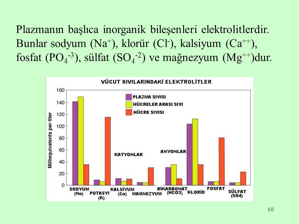 Plazmanın başlıca inorganik bileşenleri elektrolitlerdir