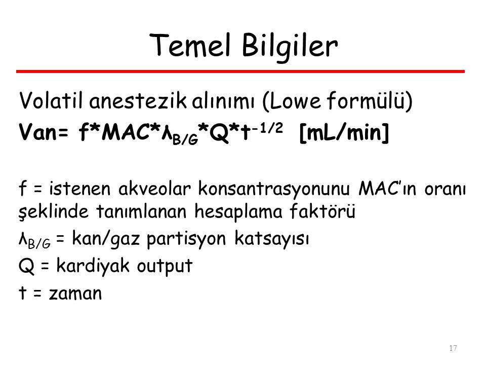 Temel Bilgiler Volatil anestezik alınımı (Lowe formülü)