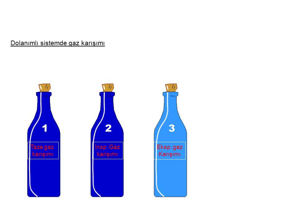 1 2 3 Dolanımlı sistemde gaz karışımı Taze gaz karışımı Insp. Gaz