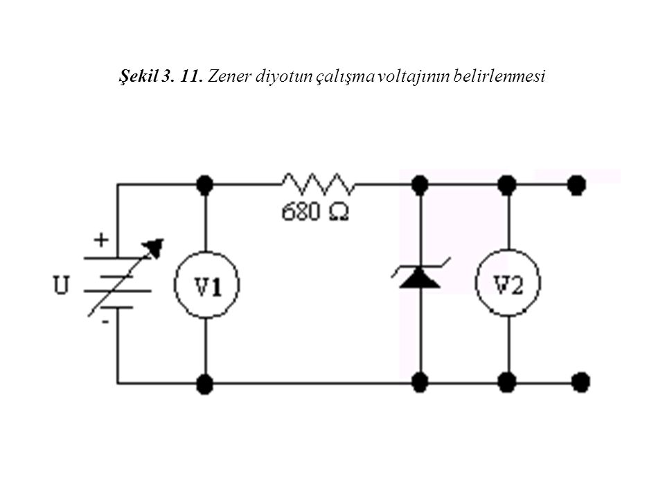 Şekil 3. 11. Zener diyotun çalışma voltajının belirlenmesi