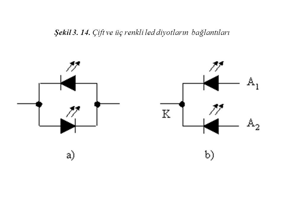 Şekil 3. 14. Çift ve üç renkli led diyotların bağlantıları