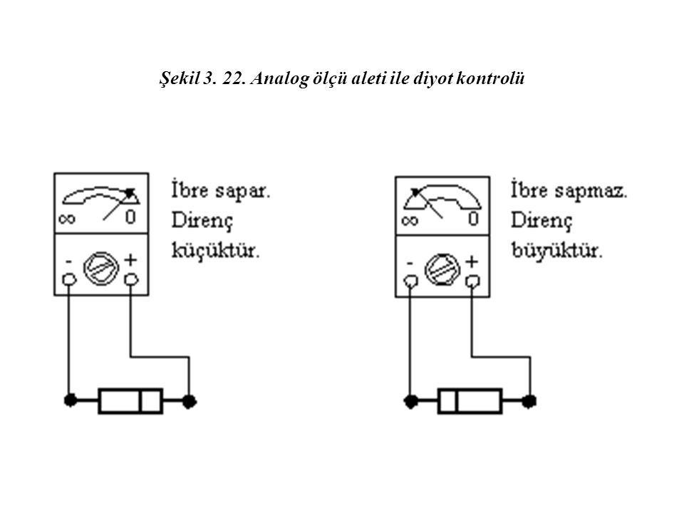 Şekil 3. 22. Analog ölçü aleti ile diyot kontrolü