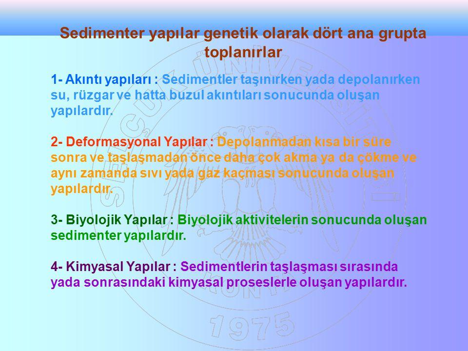 Sedimenter yapılar genetik olarak dört ana grupta toplanırlar