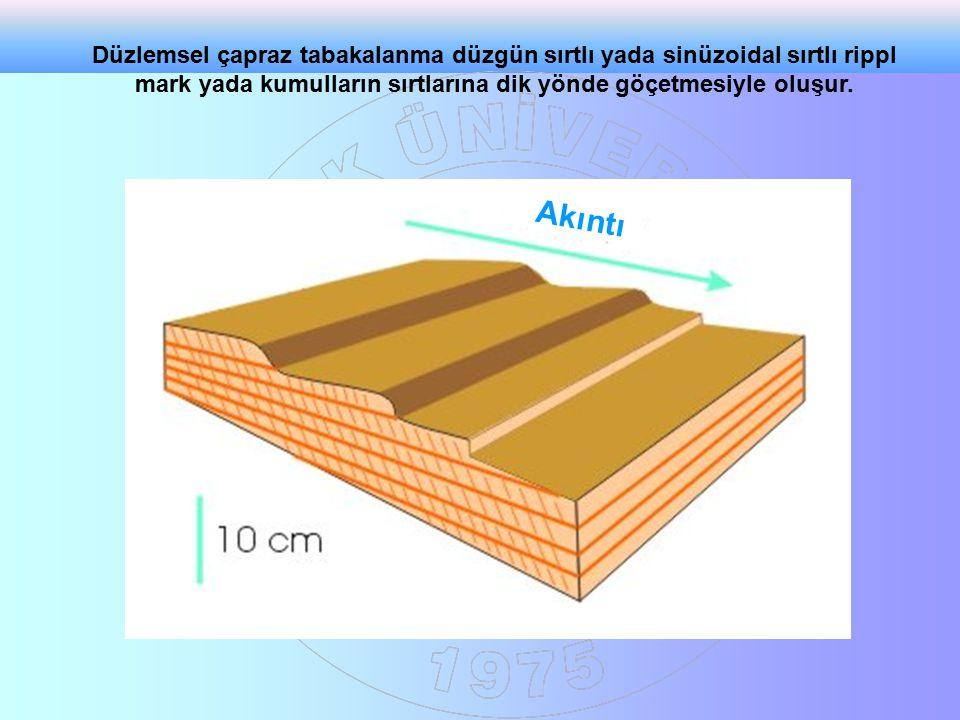 Düzlemsel çapraz tabakalanma düzgün sırtlı yada sinüzoidal sırtlı rippl mark yada kumulların sırtlarına dik yönde göçetmesiyle oluşur.
