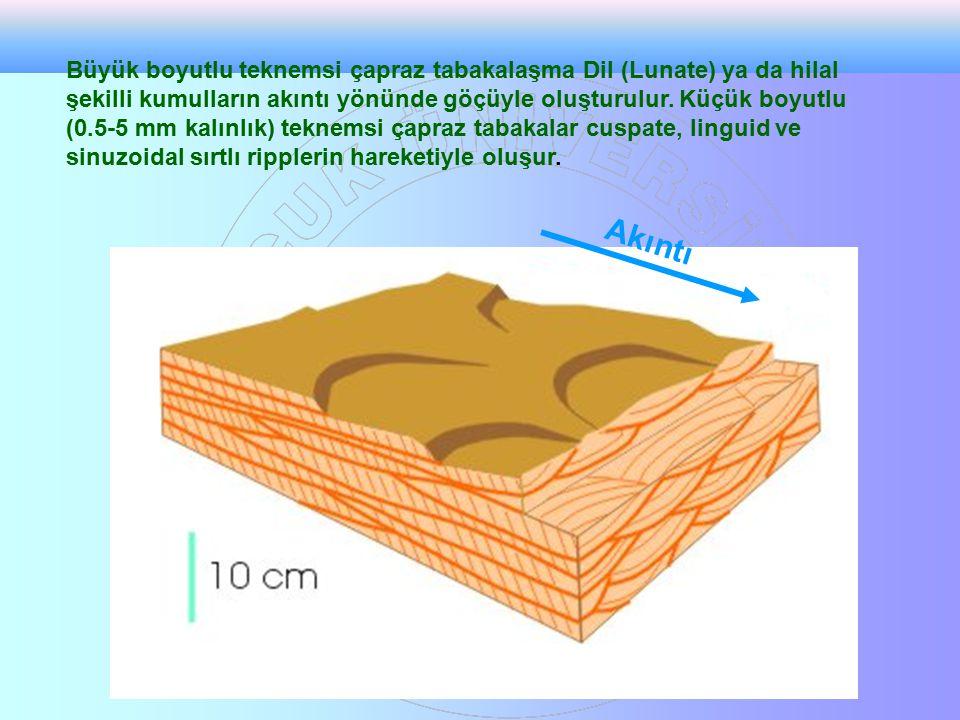 Büyük boyutlu teknemsi çapraz tabakalaşma Dil (Lunate) ya da hilal şekilli kumulların akıntı yönünde göçüyle oluşturulur. Küçük boyutlu (0.5-5 mm kalınlık) teknemsi çapraz tabakalar cuspate, linguid ve sinuzoidal sırtlı ripplerin hareketiyle oluşur.
