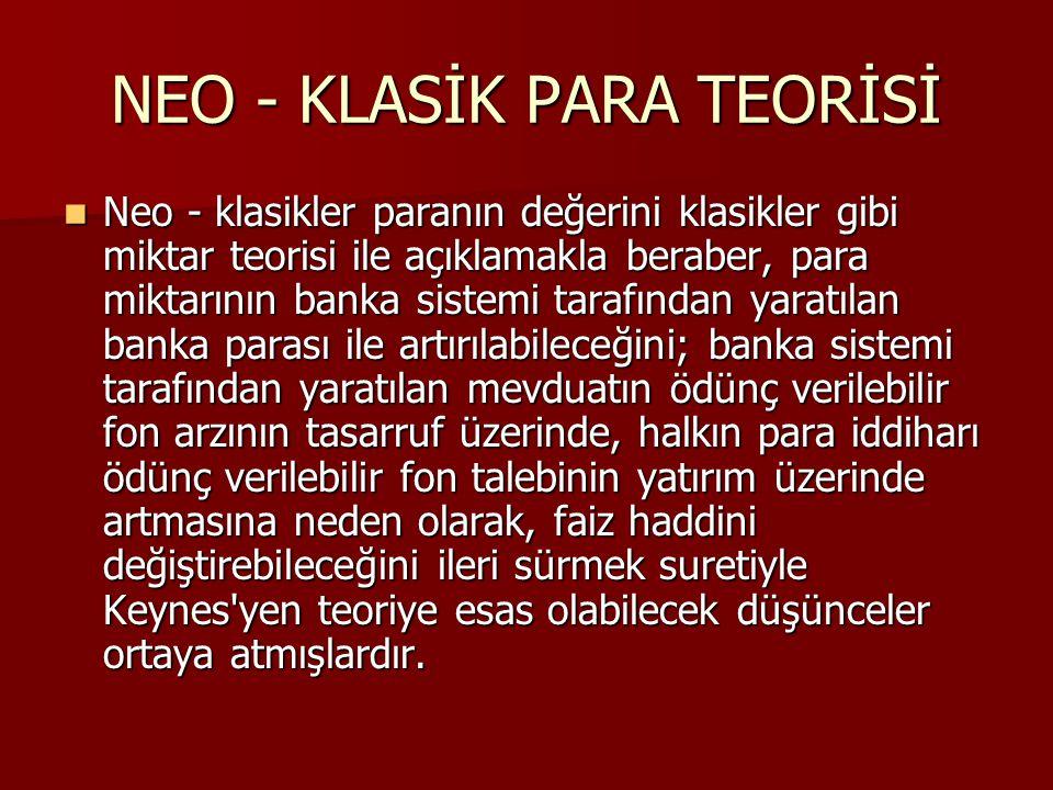 NEO - KLASİK PARA TEORİSİ