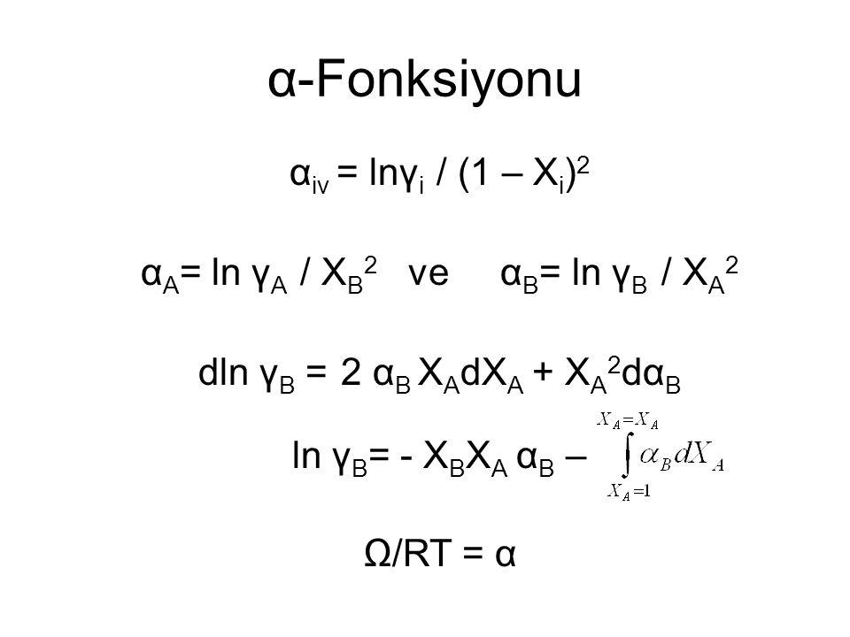α-Fonksiyonu αiv = lnγi / (1 – Xi)2 αA= ln γA / XB2 ve αB= ln γB / XA2 dln γB = 2 αB XAdXA + XA2dαB ln γB= - XBXA αB – Ω/RT = α
