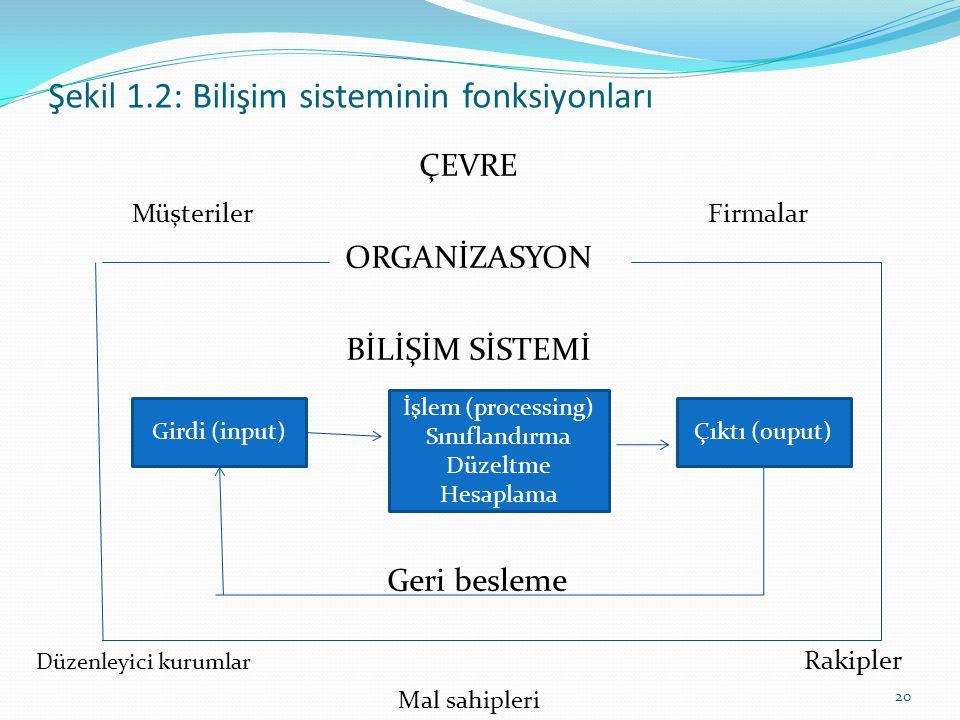 Şekil 1.2: Bilişim sisteminin fonksiyonları