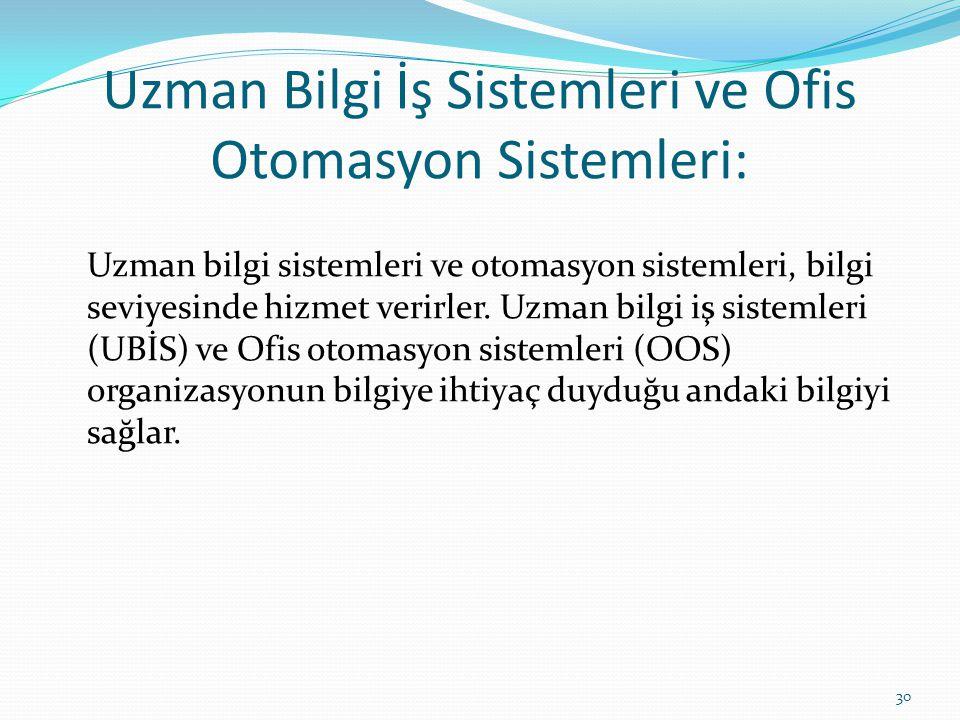 Uzman Bilgi İş Sistemleri ve Ofis Otomasyon Sistemleri: