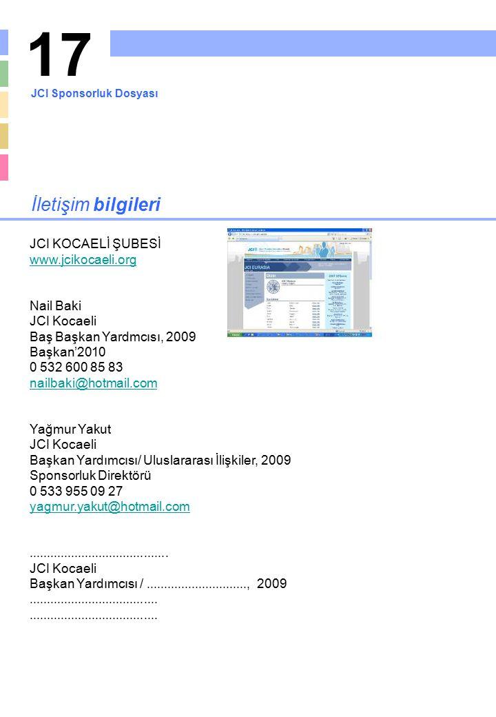 17 İletişim bilgileri JCI KOCAELİ ŞUBESİ www.jcikocaeli.org Nail Baki