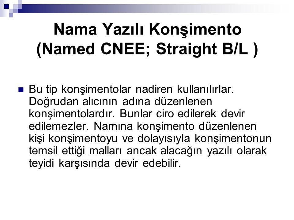 Nama Yazılı Konşimento (Named CNEE; Straight B/L )