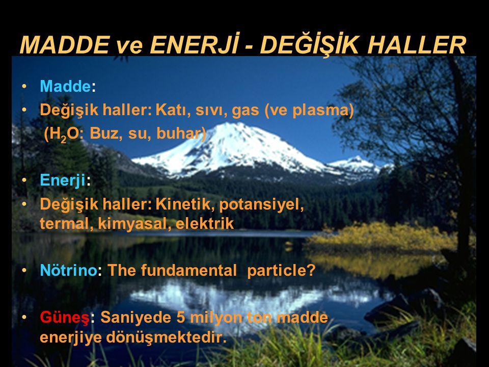 MADDE ve ENERJİ - DEĞİŞİK HALLER
