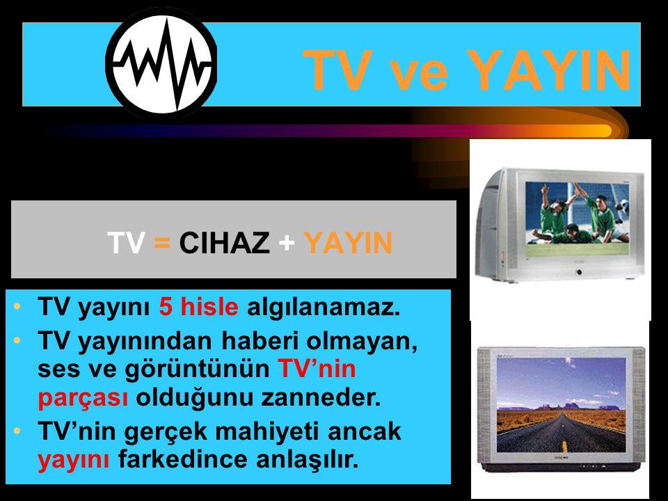 TV ve YAYIN TV = CIHAZ + YAYIN TV yayını 5 hisle algılanamaz.