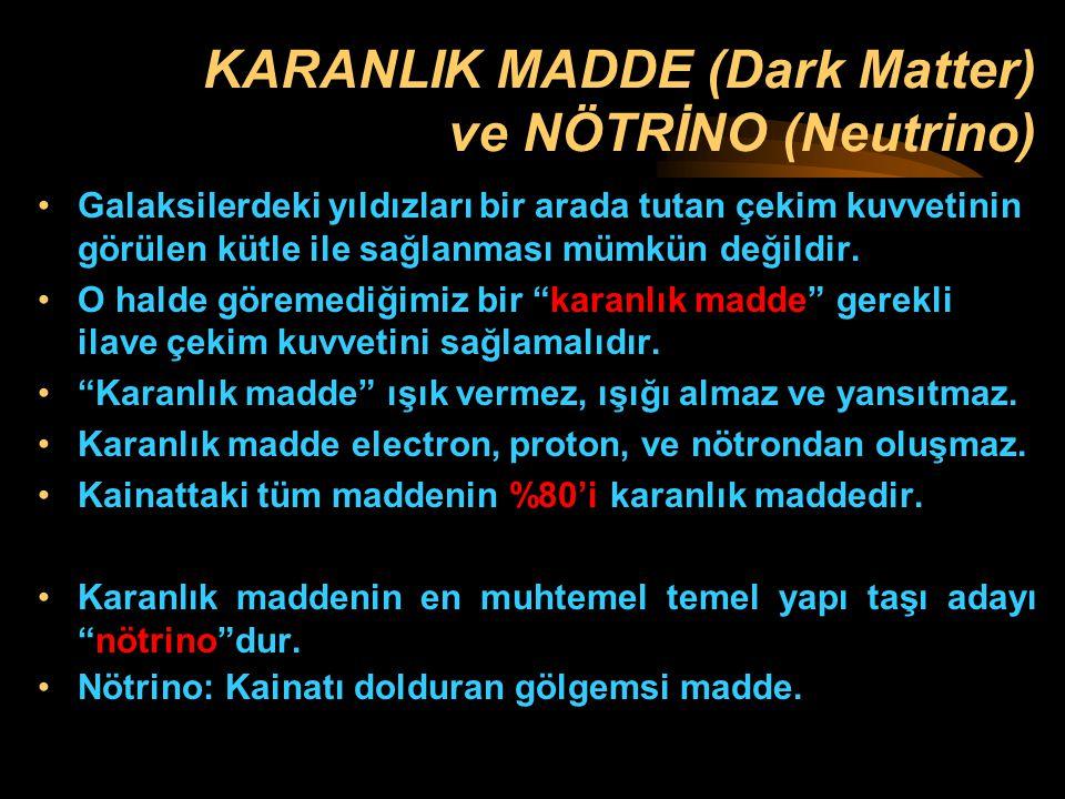 KARANLIK MADDE (Dark Matter) ve NÖTRİNO (Neutrino)