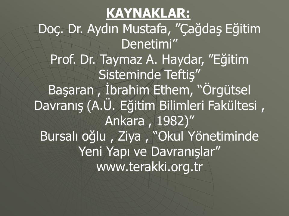 Doç. Dr. Aydın Mustafa, Çağdaş Eğitim Denetimi