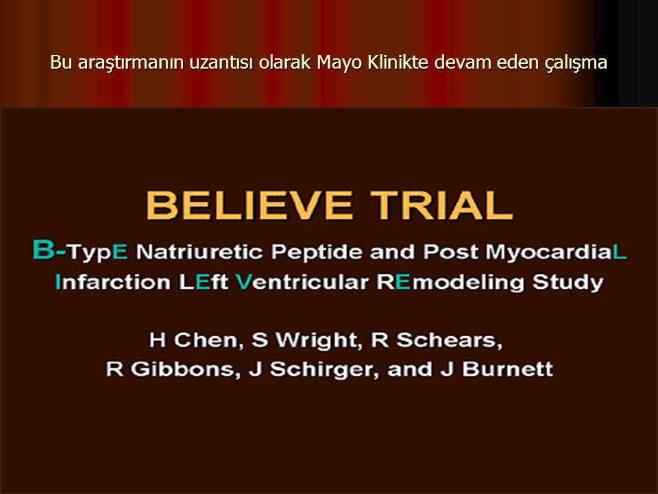 Bu araştırmanın uzantısı olarak Mayo Klinikte devam eden çalışma