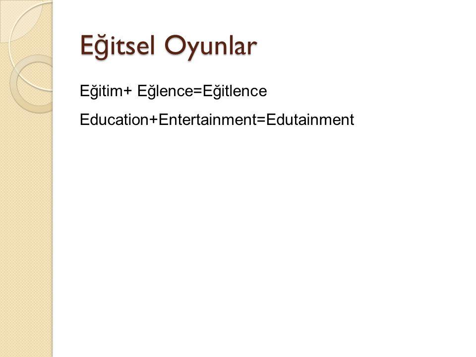 Eğitsel Oyunlar Eğitim+ Eğlence=Eğitlence Education+Entertainment=Edutainment