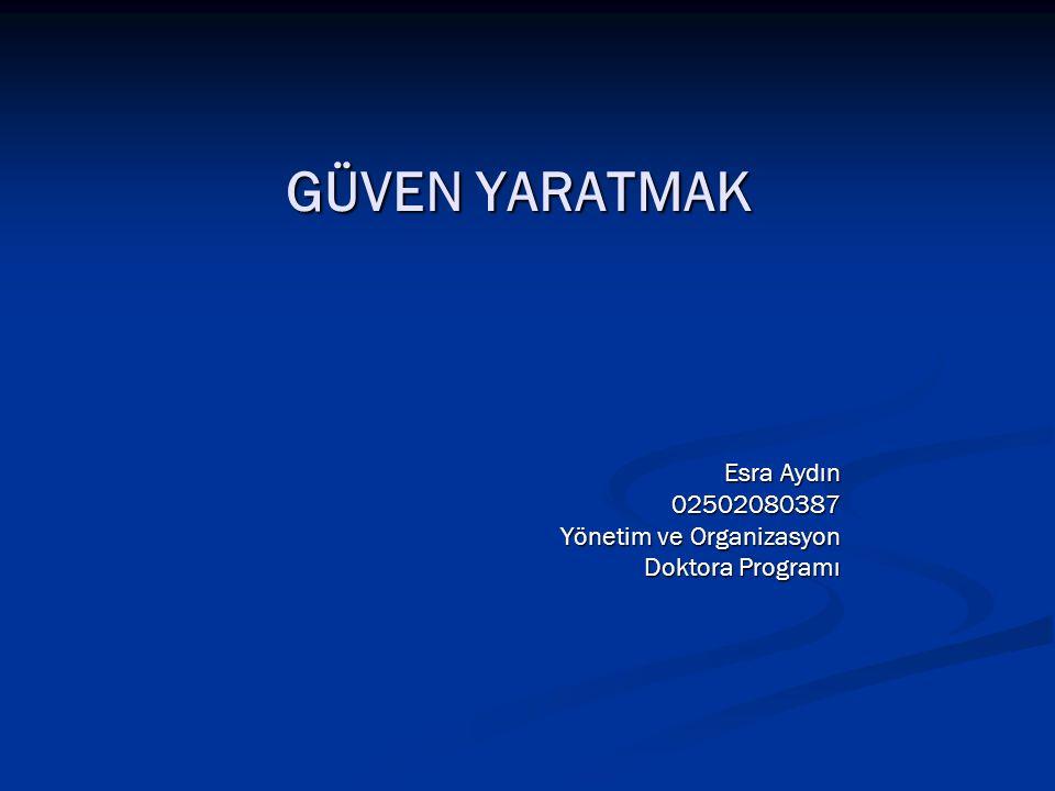 Esra Aydın 02502080387 Yönetim ve Organizasyon Doktora Programı